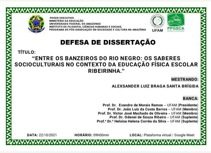 DEFESA DE DISSERTAÇÃO - ALEXSANDER LUIZ BRAGA SANTA BRÍGIDA