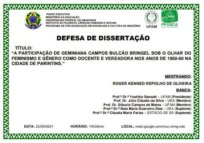 DEFESA DE DISSERTAÇÃO - ROGER KENNED REPOLHO DE OLIVEIRA