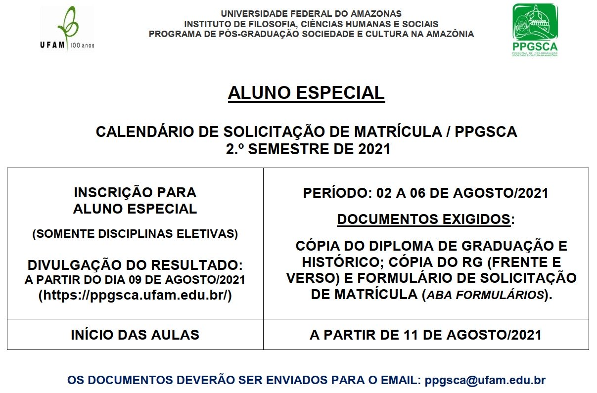 Quadro de Matrícula para aluno especial 2º semestre 2021