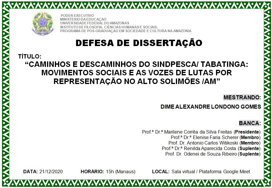 Defesa de dissertação Dime Gomes