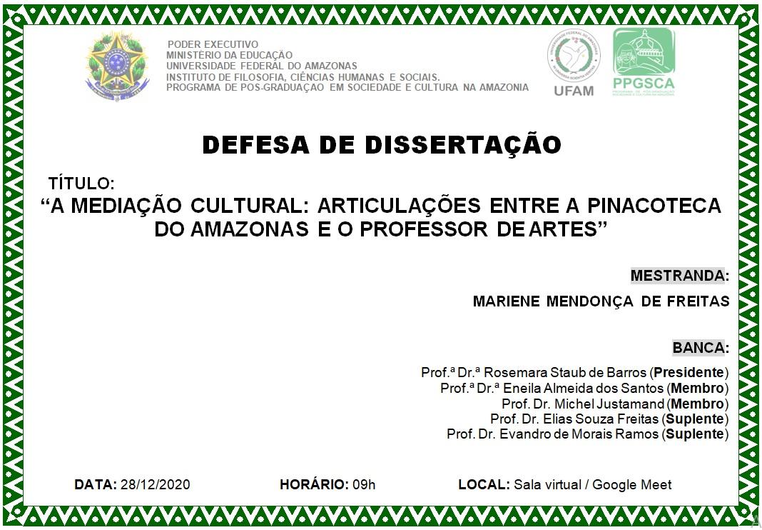 Defesa de dissertação Mariene Freitas