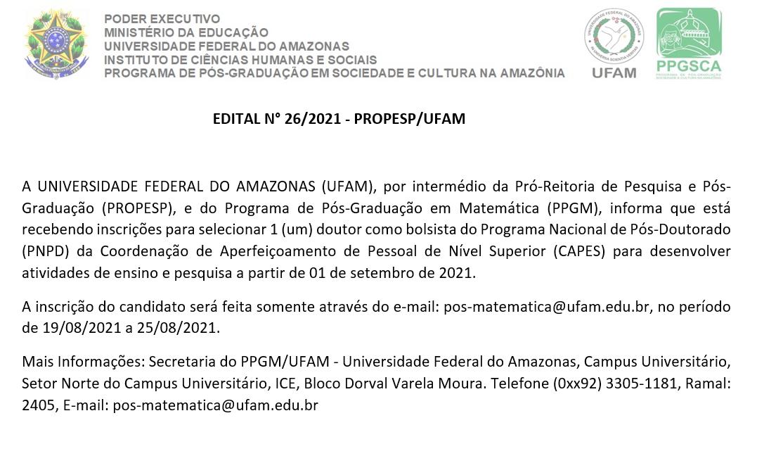 EDITAL N° 26/2021 - PROPESP/UFAM