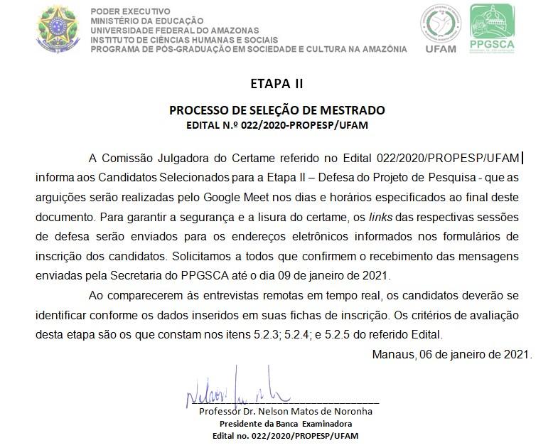 II ETAPA - DEFESA DO PROJETO DE PESQUISA