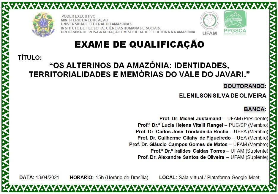 Qualificação de Doutorado de Elenilson Silva