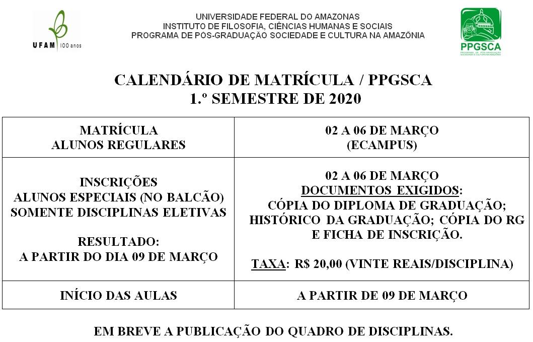 Calendário Matrícula 2020/1