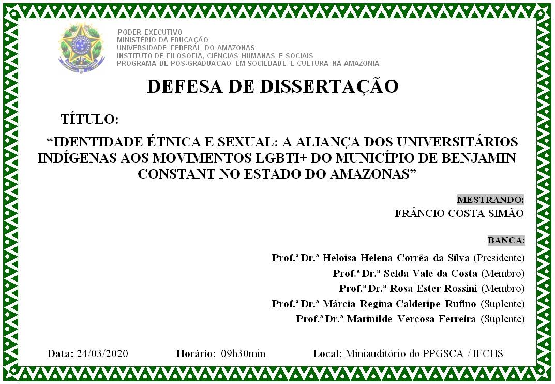 Defesa de Dissertação - Frâncio Costa Simão