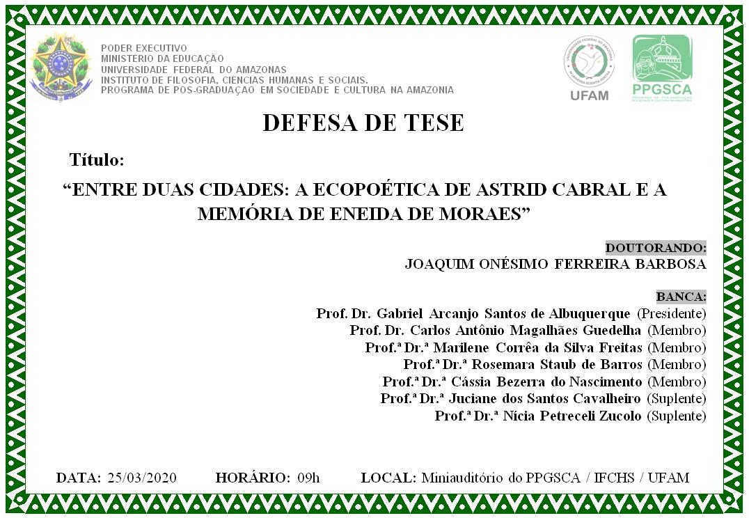 Defesa de Tese - Joaquim Onésimo Ferreira Bardosa