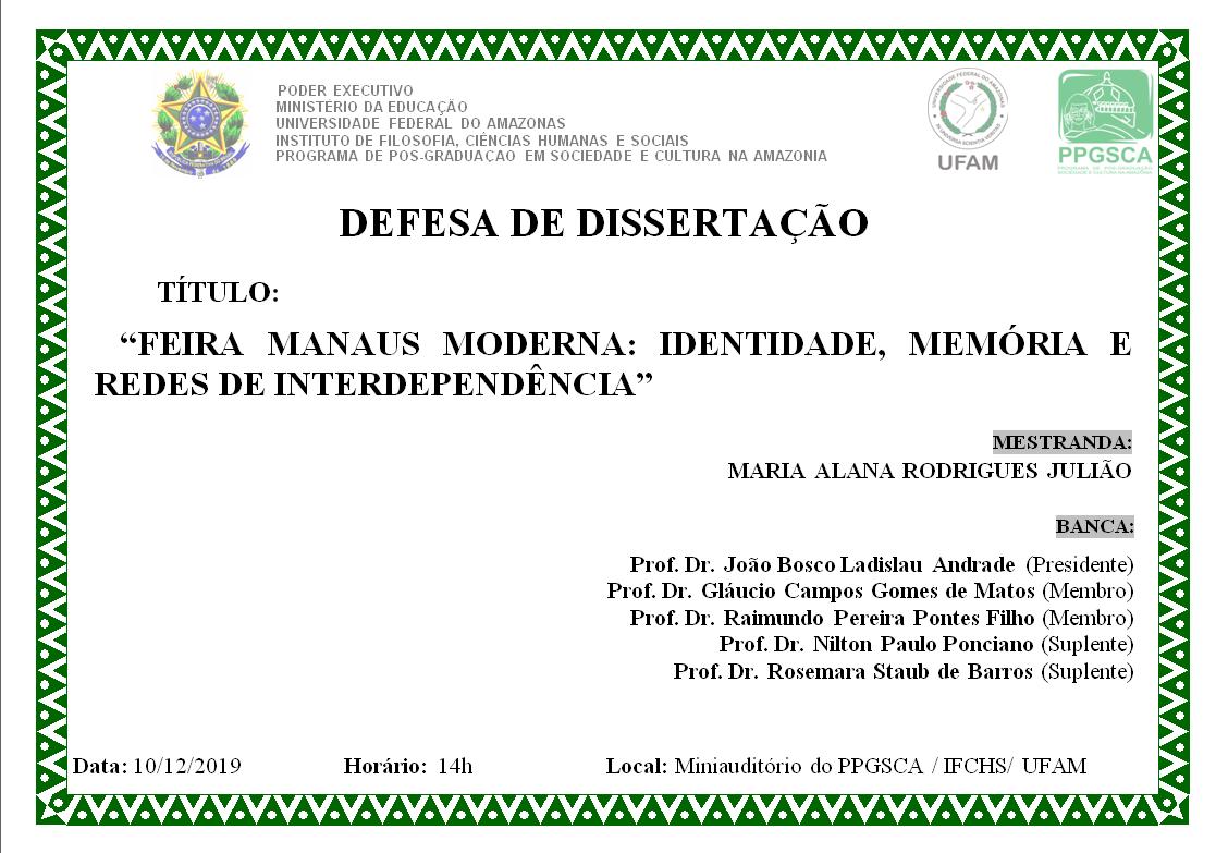 Defesa de Dissertação - Maria Alana Rodrigues Julião