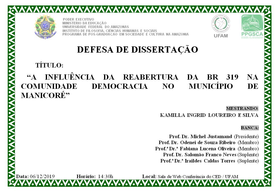 Defesa de Dissertação Kamilla Ingrid Loureiro e Silva