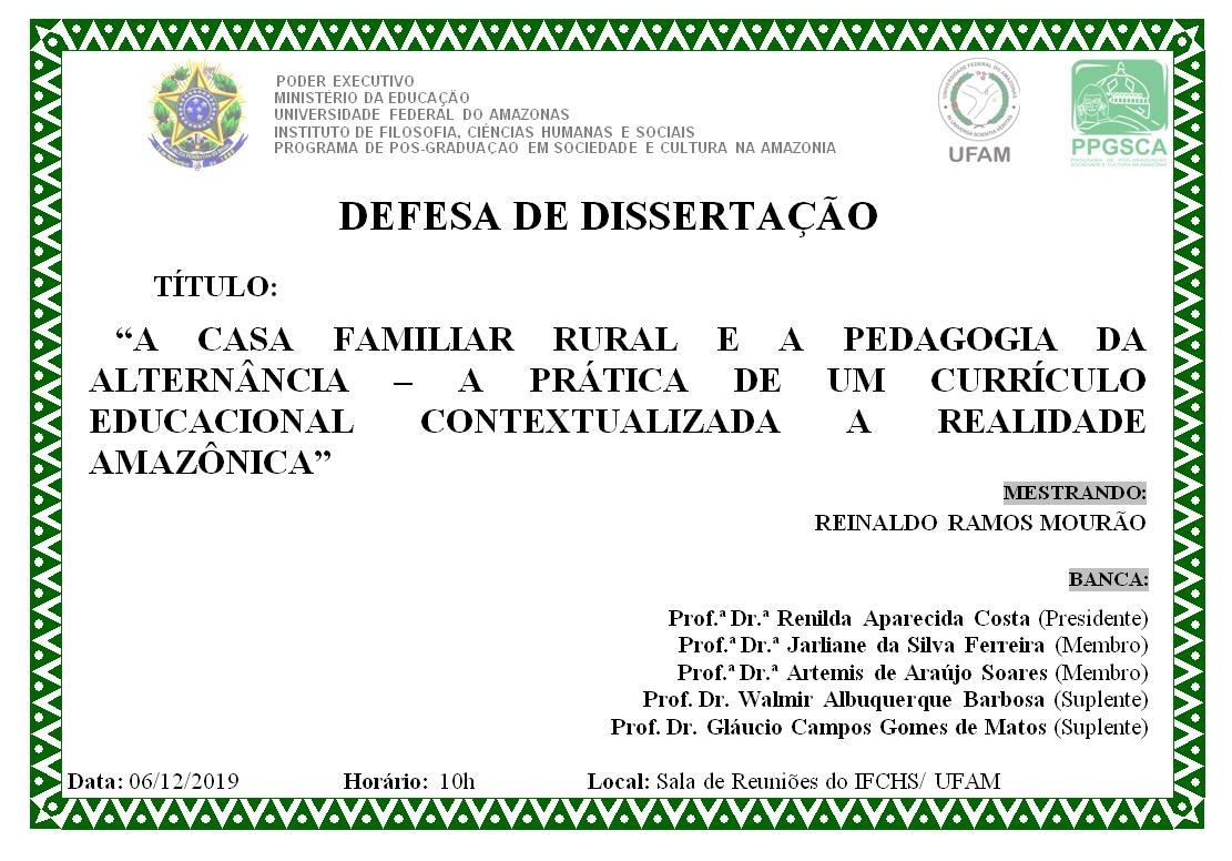 Defesa de Dissertação - Reinaldo Ramos Mourão