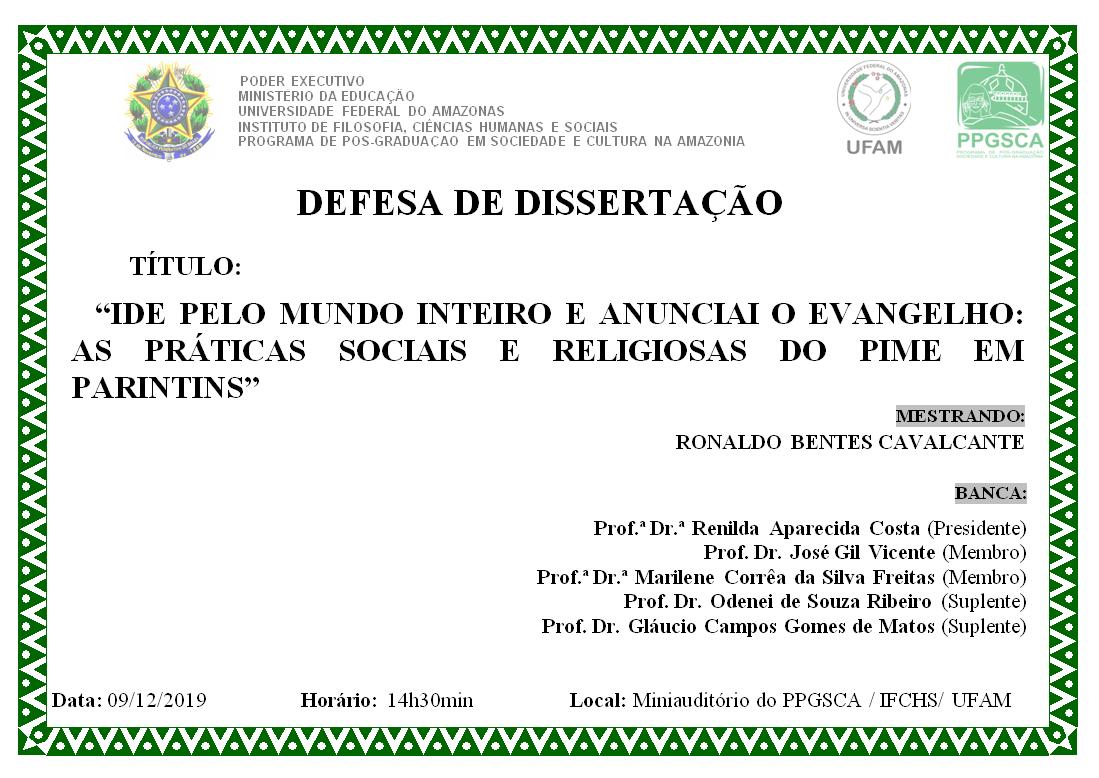 Defesa de Dissertação - Ronaldo Bentes Cavalcante