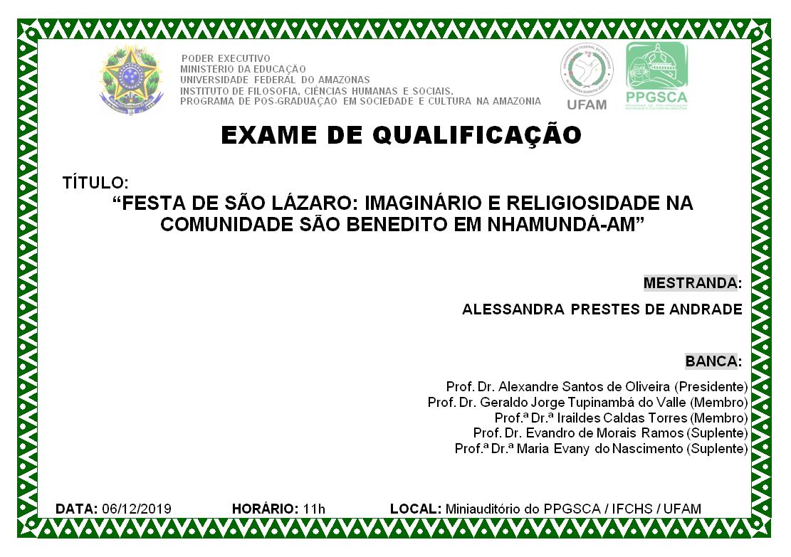 Exame de Qualificação Alessandra Prestes de Andrade