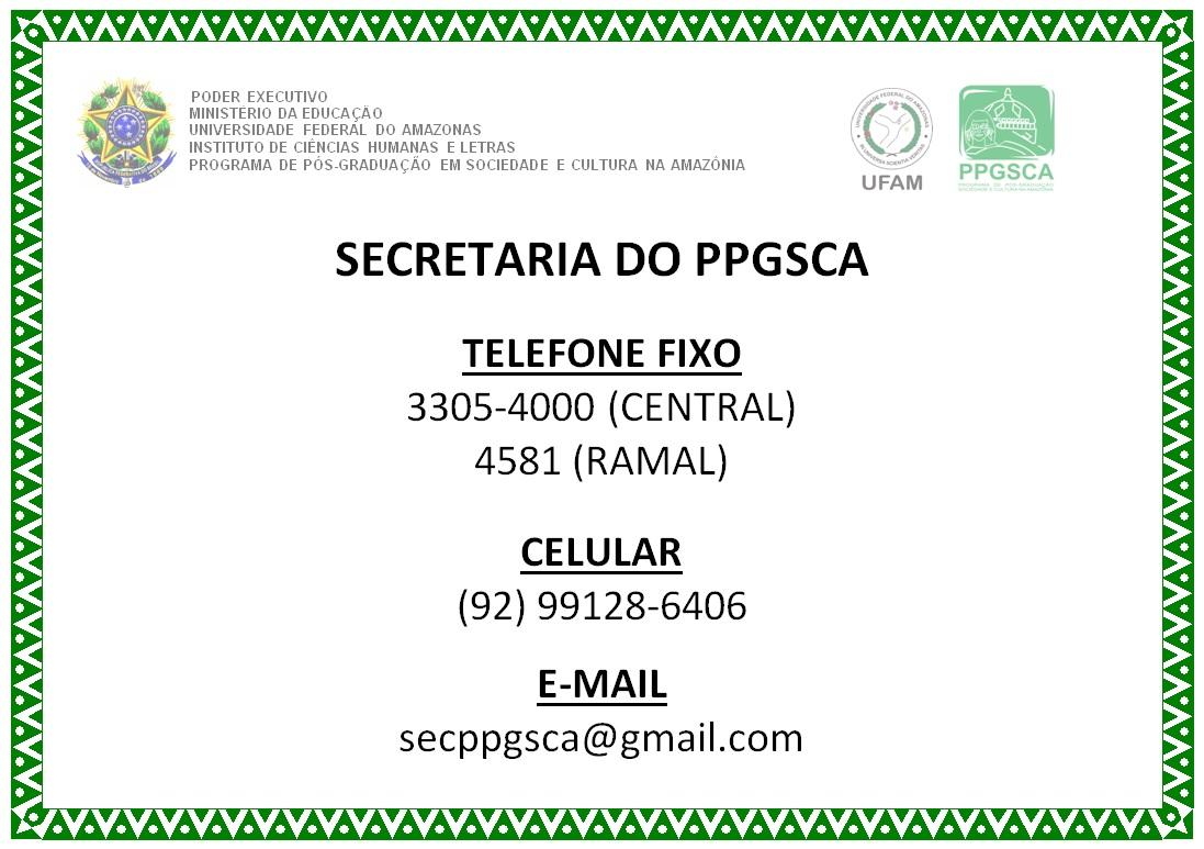 TELEFONE FIXO PPGSCA - NOVO NÚMERO