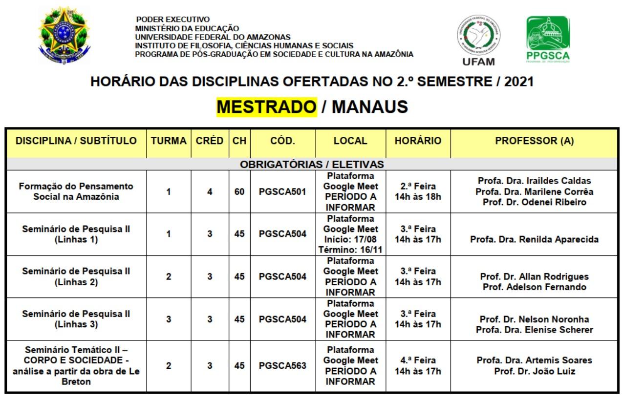 Quadro de Horários das disciplinas ofertadas no 2º Semestre/2021